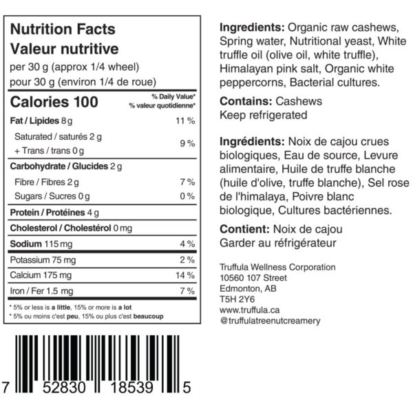 Truffula White Truffle Cheese Wheel nutrition label