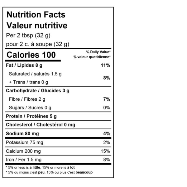 Original Cultured Cashew cheese nutrition label