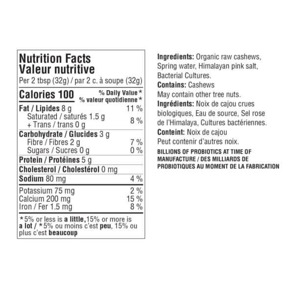 Original Cultured Cashew cheese nutrition label