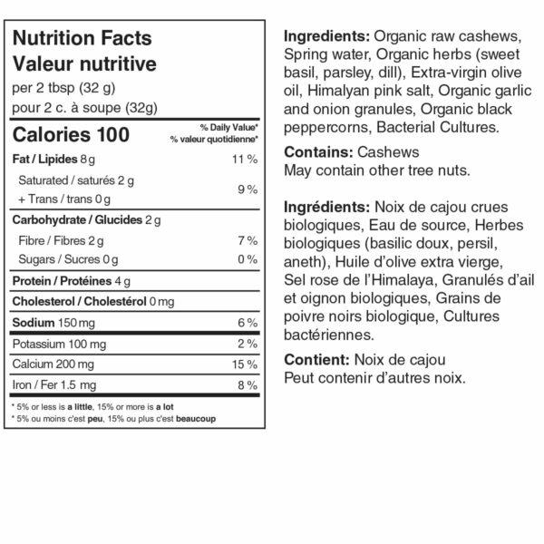 Truffula Prairie Herb Cheese Jar nutrition label