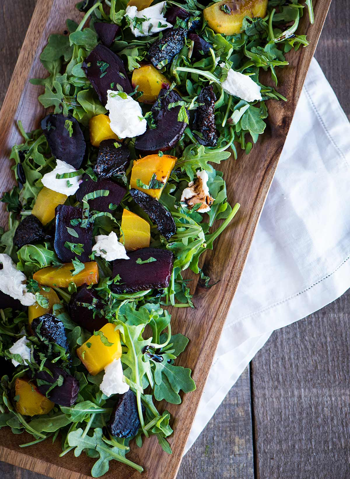 Roasted beet arugula salad with Truffula cheese