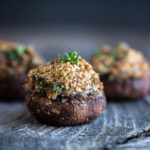 Stuffed mushrooms, topped with breadcrumbs and herbs